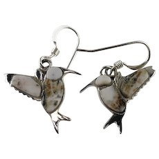 Native American Sterling and Wild Horse Magnesite Hummingbird Earrings