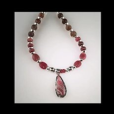 White Fox Creation: Sterling, Rhodochrosite and Moonstones Necklace