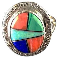 Sterling and Mulit Stone Inlay Ring By Richard Kee