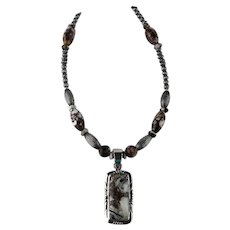 White Fox Creation: Wild Horse Magnesite and Sterling Bead Necklace