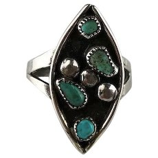 Old Zuni Sterling and Turquoise Ring