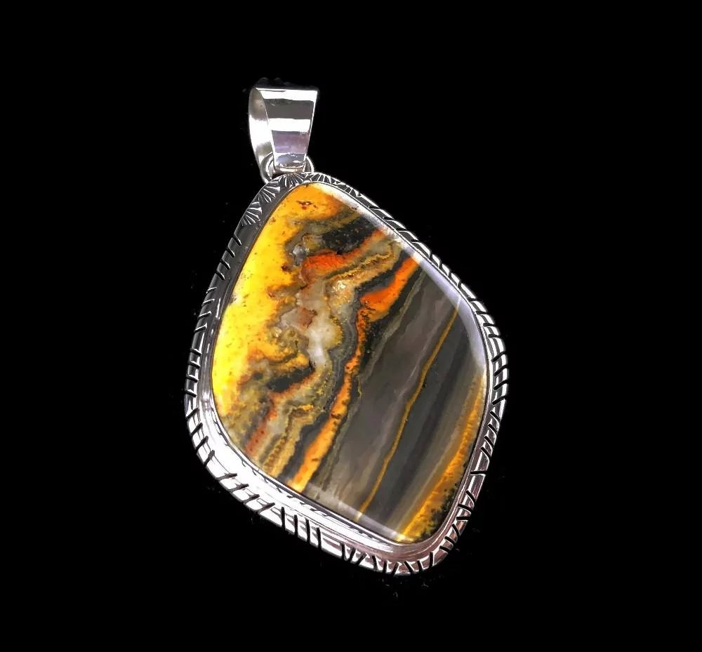 f69e39094 Spectacular Bumblebee Jasper Pendant by Navajo Artist Richard Kee. Click to  expand