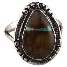 Sterling and Boulder Turquoise Ring by Richard Kee