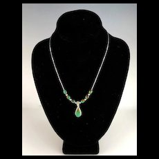 White Fox Creation: Sterling and Turquoise Necklace with Navajo Pendant