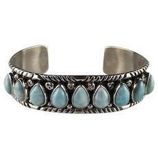 9 Stone Larimar Bracelet by Navajo Artist Richard Kee