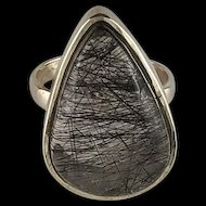 Sterling and Tourmalinated Quartz Ring