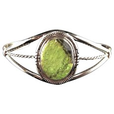 Sterling and Gaspeite Bracelet by Navajo Artist Richard Kee