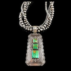 White Fox Creation: Spectacular Lester James Pendant on Multi-Strand Navajo Pearls