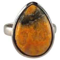 Sterling and Bumblebee Jasper Ring   Size 8 1/2