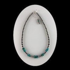 Sterling Navajo Pearl and Turquoise Necklace