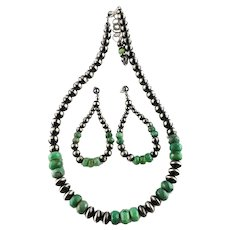 Purchase the Set and Save: Sterling Navajo Pearl and Moss Opal Set