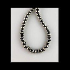 White Fox Creation: Sterling Navajo Pearl Necklace