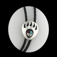 Sterling Bear Claw with Inlay Sunface Bolo
