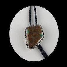 Navajo Sterling and Boulder Turquoise Bolo
