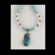 White Fox Creation: Sterling and Larimar Necklace