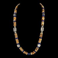 White Fox Creation: Lapis and Crazy Lace Agate Necklace