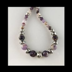 White Fox Creation: Chunky Sterling and Chevron Amethyst Necklace