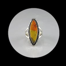 Navajo Sterling and Bumblebee Jasper Ring  Size  7 1/4