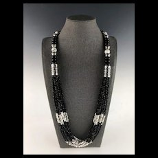 White Fox Creation: 10 Strand Onyx, Howlite and Spinel Necklace