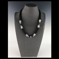 White Fox Creation: Onyx, Howlite and Opal Inlay Onyx Necklace