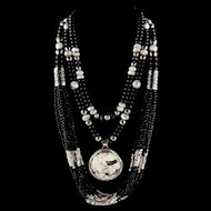 White Fox Creation: Three Piece White Buffalo, Onyx and Howlite Necklace Set