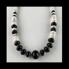 White Fox Creation: Unisex Black and White Gemstone Choker/Necklace