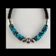 White Fox Creation: Sterling and Turquoise Necklace/Choker