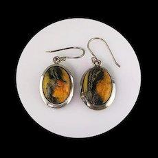 Beautiful Sterling and Bumblebee Jasper Earrings