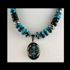 White Fox Creation: Micro Inlay Kachina Pendant on Turquoise and Onyx