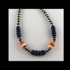 White Fox Creation: Sterling Navajo Pearls with Lapis and Spiny Oyster