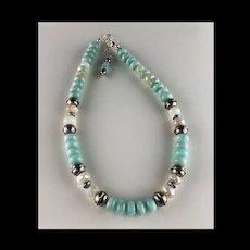 Chunky Amazonite and Moonstone Necklace