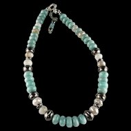 Chunky Amazonite and Moonstone Necklace