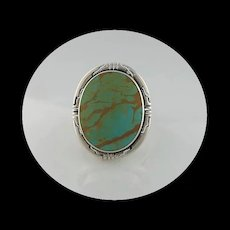 Navajo Sterling and Royston Turquoise Ring  Size 8 1/2