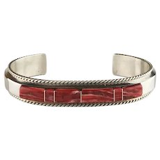 Sterling and Spiny Oyster Bracelet by Navajo Artist Fran Yazzie
