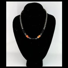 White Fox Creation: Sterling Navajo Pearl With Onyx and Spiny Oyster