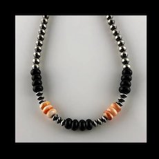 White Fox Creation: Sterling Navajo Pearls with Onyx and Spiny Oyster