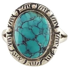 Sterling and Turquoise Ring by Navajo Artist Richard Kee  Size 7