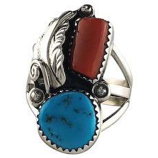 Navajo Sterling, Turquoise and Coral Ring by Ted Secatero