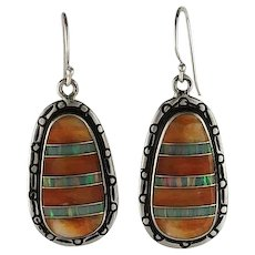 Native American Earrings: Spiny Oyster Inlaid With Opalite