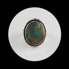 Navajo Sterling and Royston Turquoise Ring Size 8 1/4