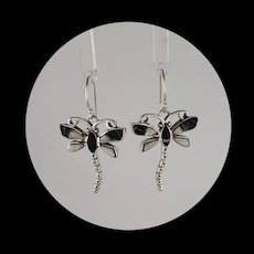 Native American Sterling and White Buffalo Dragonfly Earrings