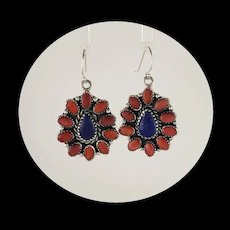 Navajo Sterling, Spiny Oyster and Lapis Multi Stone Earrings