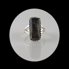 Navajo Sterling and Petrified Peanut Wood Ring  Size 8 3/4