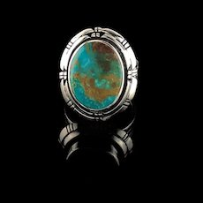 Navajo Sterling and Turquoise Unisex Ring Size 9 1/4