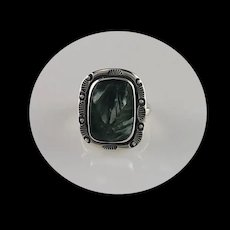 Sterling and Seraphinite (Angle Wing) Ring by Richard Kee Size 7