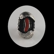 Old Navajo Sterling and Branch Coral Ring  Size 7 3/4
