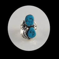 Sterling and Kingman Turquoise Ring by Ted Secatero  Size 8