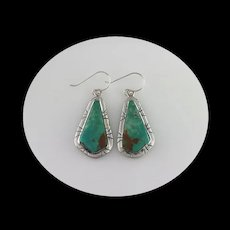Sterling and Turquoise Earrings by Navajo Artist Melissa Yazzie