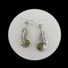 Navajo Hand Crafted Sterling Feather and Gaspeite Earrings