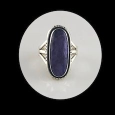 Navajo Sterling and Charoite Ring  Size 6 3/4